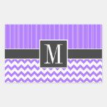 Trendy Purple Chevron Rectangular Stickers