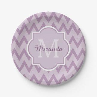 Trendy Purple Chevron Zigzag Name and Monogram Paper Plate