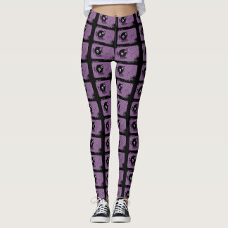 Trendy Purple Cute Cartoon Demon Yoga Leggings