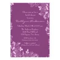 Trendy Purple Floral Bridal Shower Invite
