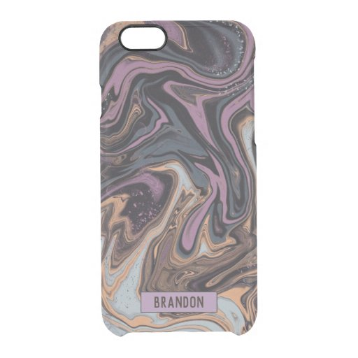 Trendy Purple grey marbling design Clear iPhone 6/6S Case