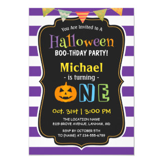 Trendy Purple Halloween Baby First Birthday Party Card