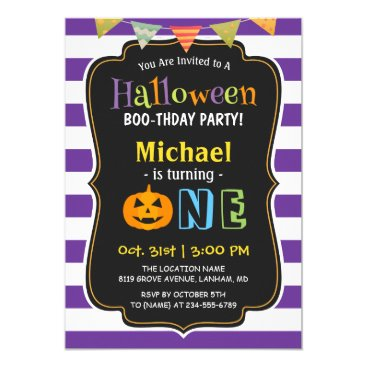 Halloween Themed Trendy Purple Halloween Baby First Birthday Party Card