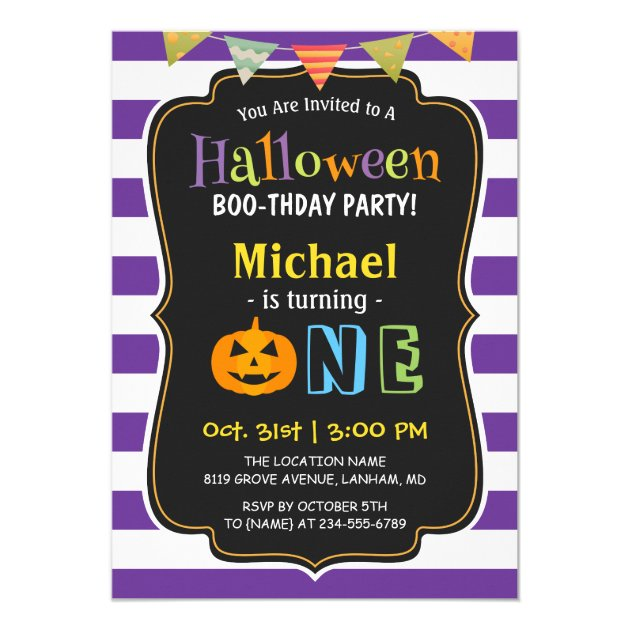 155 scary and creepy halloween party invitations trendy purple halloween baby first birthday party invitation filmwisefo