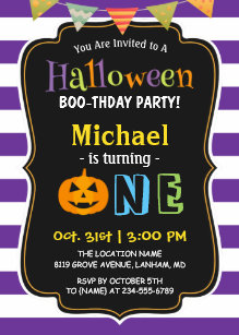 Trendy Purple Halloween Baby First Birthday Party Invitation