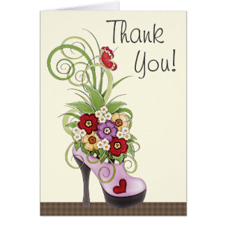 Trendy Purple High Heel Shoe and Flowers Thank You Card