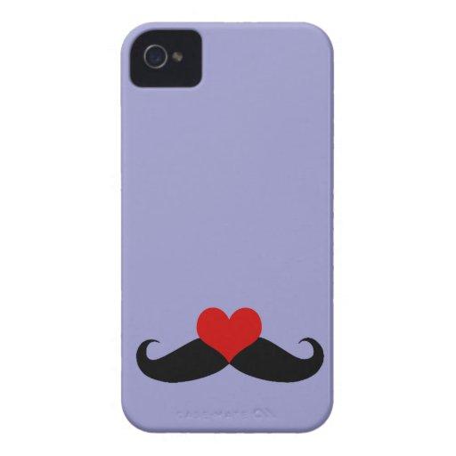 Trendy Purple I love Mustaches iPhone Case iPhone 4 Case-Mate Case