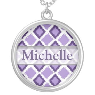 Trendy Purple Ikat Pattern With Custom Name Necklace