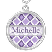 Trendy Purple Ikat Pattern With Custom Name Silver Plated Necklace