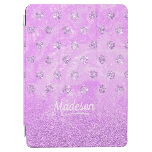 Trendy purple imitation rhinestone and glitter iPad air cover