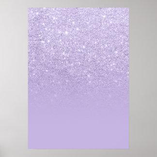 Trendy purple lavender glitter ombre color block poster
