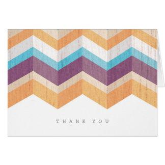 Trendy Purple Orange & Blue Chevron Thank You Stationery Note Card