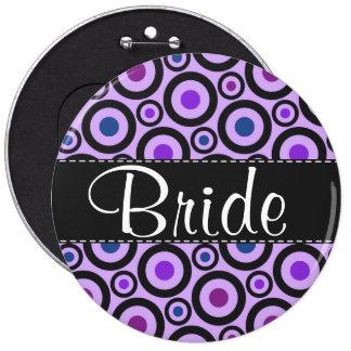 Trendy Purple Polka Dot 6 Inch Round Button