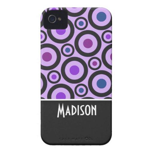 Trendy Purple Polka Dot Case-Mate iPhone 4 Cases