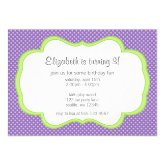 Trendy Purple Polka Dot Green Frame Birthday Party Card