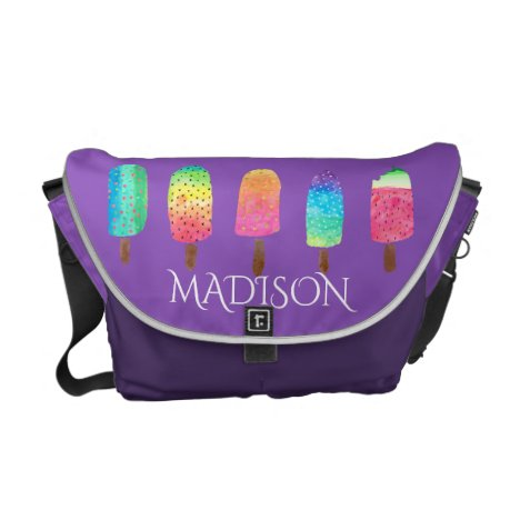Trendy Purple Popsicle Pattern Watercolor Colorful Courier Bag