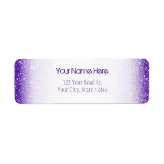 Trendy Purple Sparkling Glitter Glitz Label