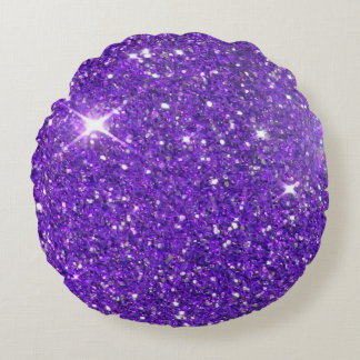 Trendy Purple Sparkling Glitter Glitz Round Pillow