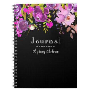 Trendy Purple Watercolor Floral On Black Journal/ Notebook