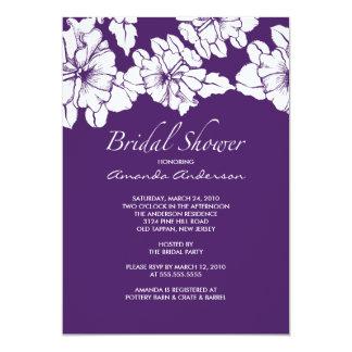 Trendy Purple & White Floral Bridal Shower Invite