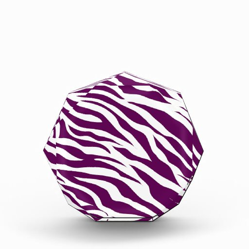 Trendy Purple White Zebra Stripe Wild Animal Print Acrylic Award