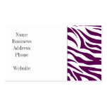 Trendy Purple White Zebra Stripe Wild Animal Print Business Cards
