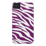 Trendy Purple White Zebra Stripe Wild Animal Print iPhone 4 Cover