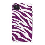 Trendy Purple White Zebra Stripe Wild Animal Print Case-Mate iPhone 4 Case