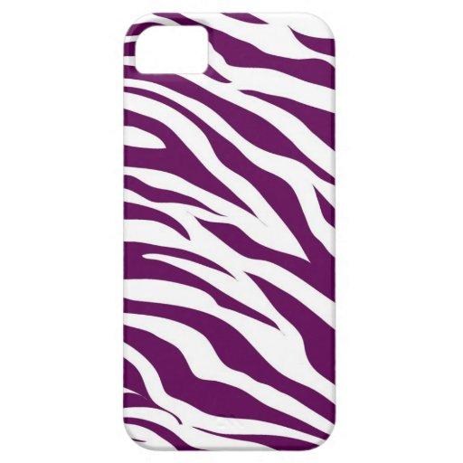 Trendy Purple White Zebra Stripe Wild Animal Print iPhone 5 Case