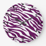 Trendy Purple White Zebra Stripe Wild Animal Print Wallclocks