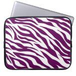 Trendy Purple White Zebra Stripe Wild Animal Print Computer Sleeve