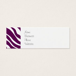 Trendy Purple White Zebra Stripe Wild Animal Print Mini Business Card