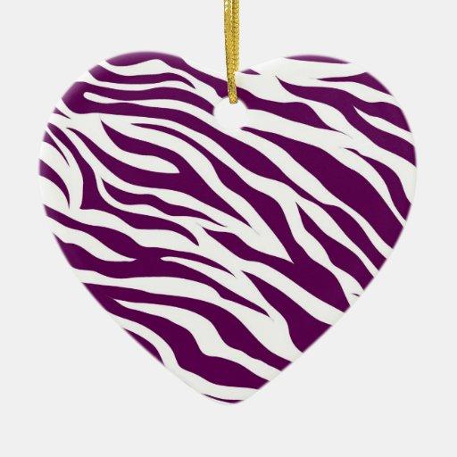 Trendy Purple White Zebra Stripe Wild Animal Print Christmas Tree Ornaments