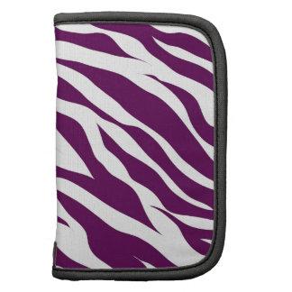 Trendy Purple White Zebra Stripe Wild Animal Print Folio Planners