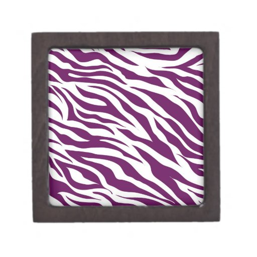 Trendy Purple White Zebra Stripe Wild Animal Print Premium Trinket Box