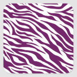 Trendy Purple White Zebra Stripe Wild Animal Print Square Sticker