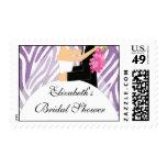 Trendy Purple Zebra Bride Bridal Shower Postage
