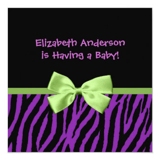 Trendy Purple Zebra Print And Ribbon Baby Shower Card