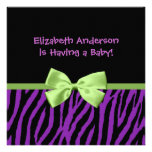 Trendy Purple Zebra Print And Ribbon Baby Shower Custom Invite