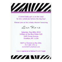 Trendy Purple Zebra Print Baby Shower Invitations