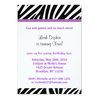 Trendy Purple Zebra Print Birthday Invitations