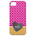 TRENDY quatrefoil chalkboard heart glitter pink iPhone 5 Cover
