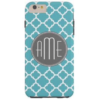 Trendy Quatrefoil Pattern Custom Triple Monogram Tough iPhone 6 Plus Case