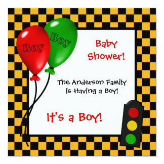 Trendy Race Car Checkers Boy Baby Shower Card