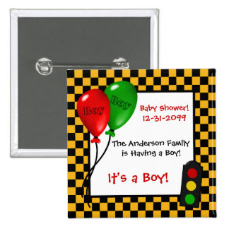 Trendy Race Car Checkers Boy Baby Shower Pins