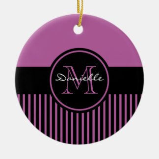 Trendy Radiant Orchid Chic Black Stripes Monogram Christmas Ornaments