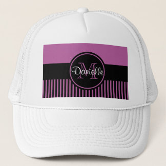 Trendy Radiant Orchid Chic Black Stripes Monogram Trucker Hat