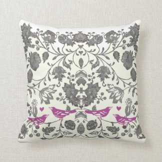Trendy Radiant Purple and Gray Vintage Floral Bird Throw Pillows