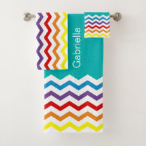 Trendy Rainbow Chevron Teal Pattern Personalized Bath Towel Set