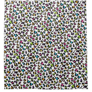 Trendy Rainbow Leopard Print Pattern Shower Curtain